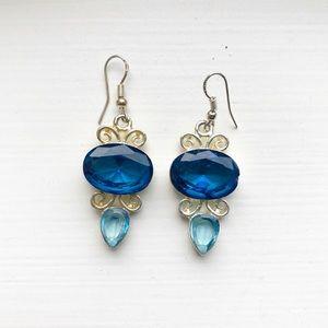 Vintage ornate silver & blue gem drop earrings